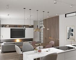 Apartament w Warszawie - Mała otwarta szara kuchnia jednorzędowa w aneksie z oknem, styl eklektyczny - zdjęcie od OSOM.