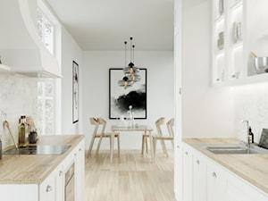 Dom jednorodzinny pod Łodzią - Mała otwarta biała szara kuchnia dwurzędowa, styl tradycyjny - zdjęcie od OSOM.