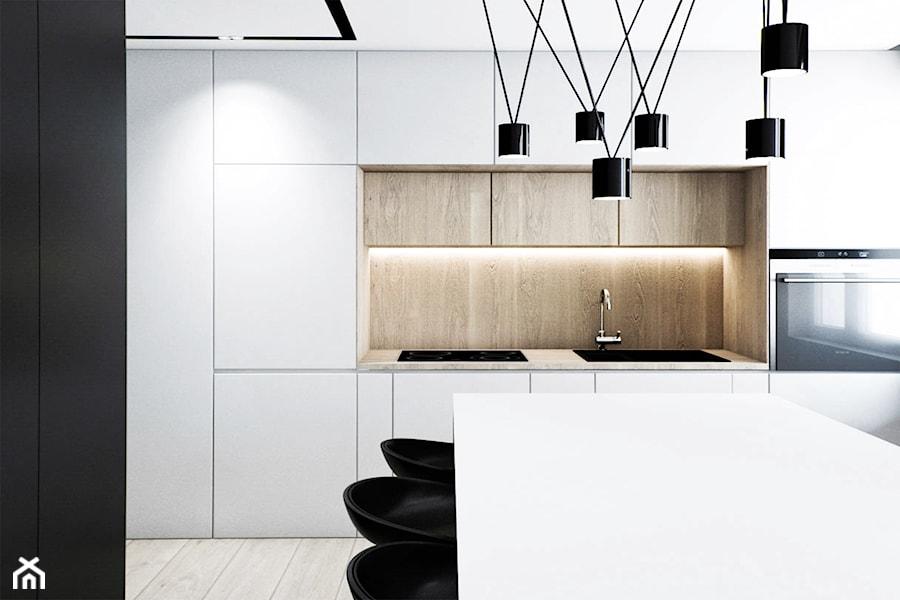 Aranżacje wnętrz - Kuchnia: Mieszkanie w Łodzi - Średnia otwarta czarna kuchnia jednorzędowa, styl minimalistyczny - OSOM.. Przeglądaj, dodawaj i zapisuj najlepsze zdjęcia, pomysły i inspiracje designerskie. W bazie mamy już prawie milion fotografii!