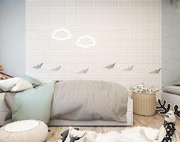 Dom jednorodzinny w Łodzi - Mały biały szary pokój dziecka dla chłopca dla dziewczynki dla malucha, styl skandynawski - zdjęcie od OSOM.