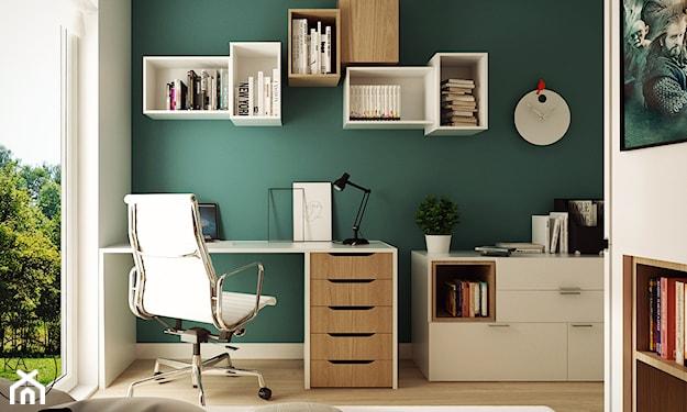 białe meble do pokoju i ściana w morskim kolorze