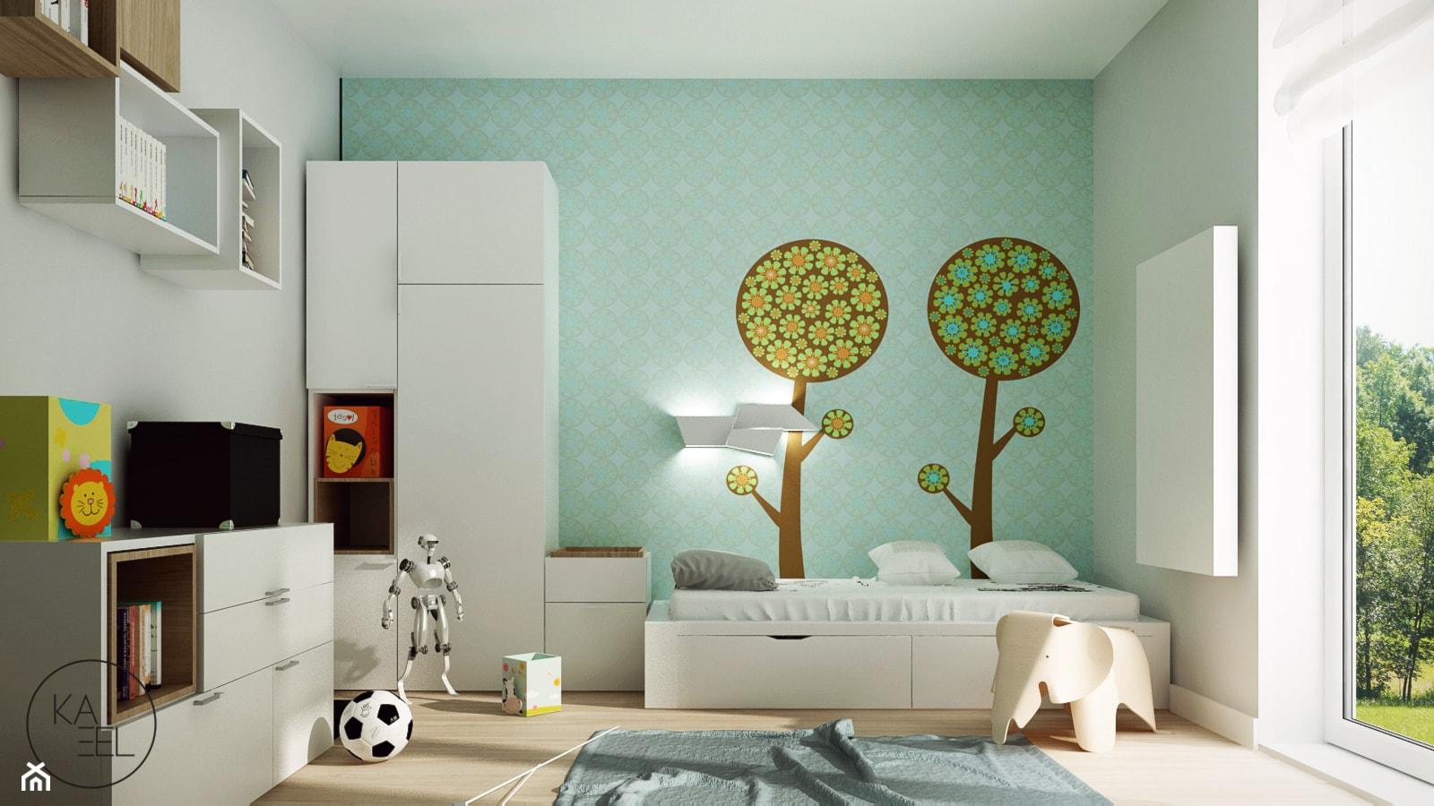 STRZESZEWSKIEGO - Średni biały zielony pokój dziecka dla chłopca dla malucha, styl skandynawski - zdjęcie od KAEL Architekci - Homebook