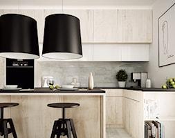STRZESZEWSKIEGO - Średnia otwarta biała kuchnia w aneksie z wyspą, styl nowoczesny - zdjęcie od KAEL Architekci