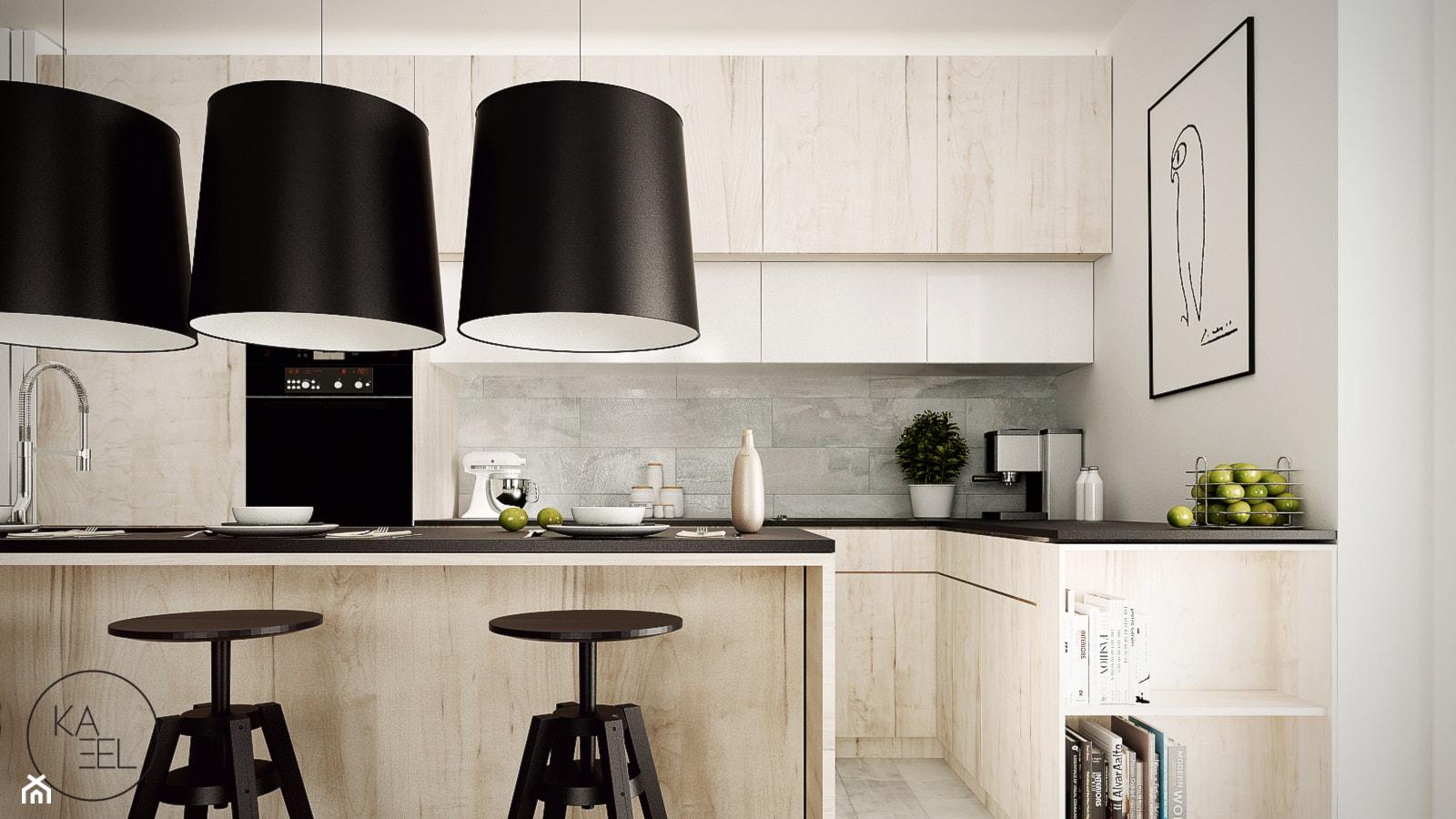 STRZESZEWSKIEGO - Średnia otwarta biała kuchnia w aneksie z wyspą, styl nowoczesny - zdjęcie od KAEL Architekci - Homebook
