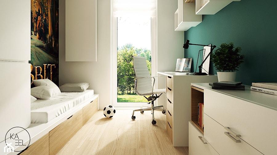 STRZESZEWSKIEGO - Biały turkusowy pokój dziecka dla chłopca dla ucznia dla nastolatka, styl nowoczesny - zdjęcie od KAEL Architekci