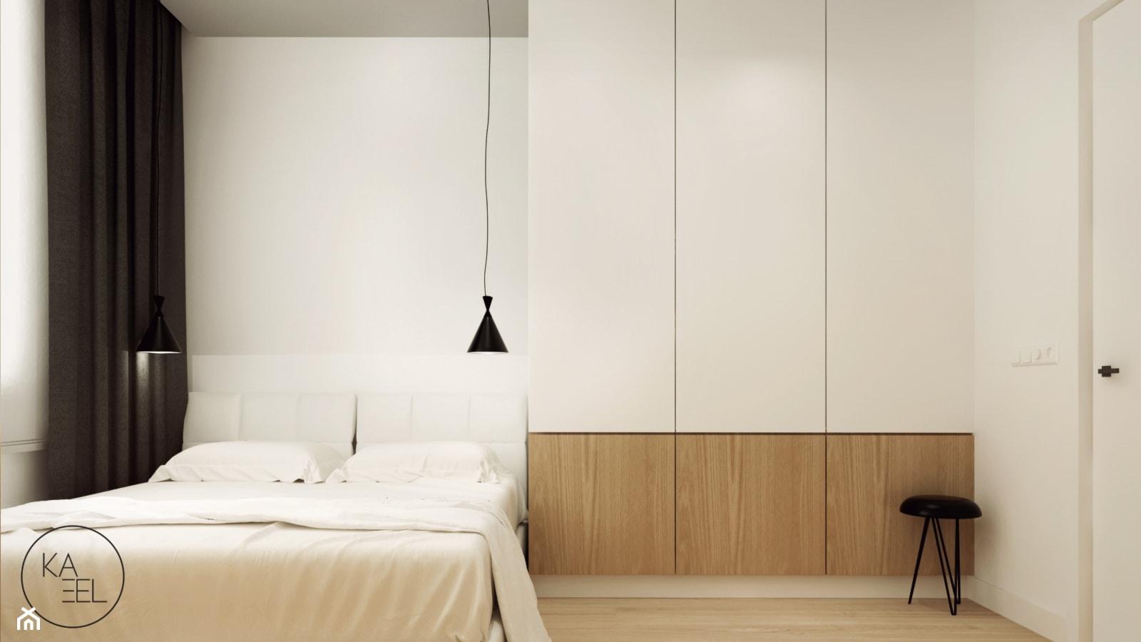 STRZESZEWSKIEGO - Średnia biała sypialnia małżeńska, styl minimalistyczny - zdjęcie od KAEL Architekci - Homebook