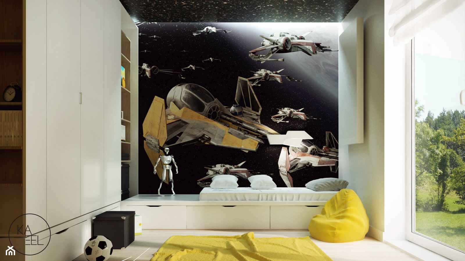 STRZESZEWSKIEGO - Średni biały pokój dziecka dla chłopca dla ucznia dla nastolatka, styl nowoczesny - zdjęcie od KAEL Architekci - Homebook