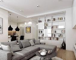 BORA KOMOROWSKIEGO - Duży salon z bibiloteczką z jadalnią, styl nowoczesny - zdjęcie od KAEL Architekci - Homebook