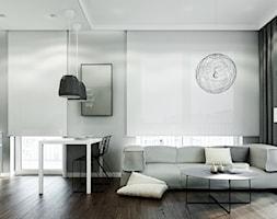 WORONICZA - Mały średni szary salon z kuchnią z jadalnią z tarasem / balkonem, styl nowoczesny - zdjęcie od KAEL Architekci - Homebook