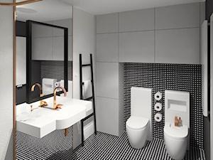 łazienka inspirowana Art Deco - Średnia czarna szara łazienka w bloku w domu jednorodzinnym bez okna, styl art deco - zdjęcie od nanoSTUDIO