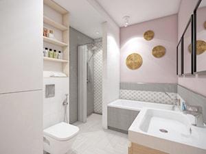 Dom w Katowicach - Średnia biała różowa łazienka na poddaszu w bloku w domu jednorodzinnym bez okna, styl eklektyczny - zdjęcie od nanoSTUDIO