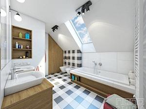 Dom w Olkuszu - Średnia biała łazienka na poddaszu w domu jednorodzinnym z oknem, styl vintage - zdjęcie od nanoSTUDIO
