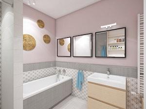 Dom w Katowicach - Mała średnia szara różowa łazienka w bloku bez okna, styl eklektyczny - zdjęcie od nanoSTUDIO
