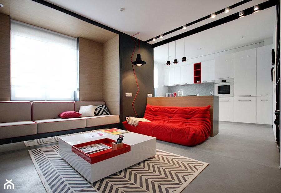 20th Floor - Średni biały czarny salon z kuchnią, styl minimalistyczny - zdjęcie od Nika Vorotyntseva architecture-design bureau