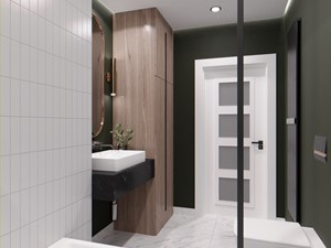 Projekt łazienki z dominacją zieleni