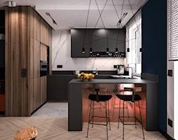 Projekt kolor - Duża otwarta szara czarna kuchnia w kształcie litery g z oknem, styl nowoczesny - zdjęcie od KOLORUM - Homebook