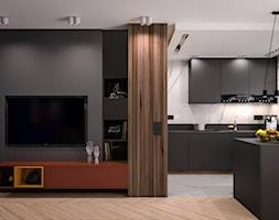 Projekt kolor - Średni czarny salon z kuchnią z jadalnią, styl nowoczesny - zdjęcie od KOLORUM - Homebook