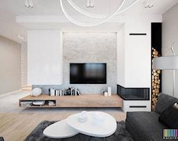 Skandynawski klimat - Duży szary biały salon - zdjęcie od KOLORUM