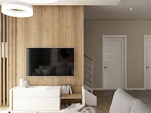Ciepła nowoczesność - Średni biały beżowy salon, styl skandynawski - zdjęcie od KOLORUM