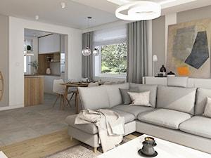 Ciepła nowoczesność - Średni biały beżowy salon z kuchnią z jadalnią, styl skandynawski - zdjęcie od KOLORUM