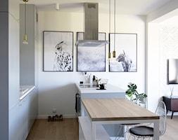 Soft loft - Średnia otwarta szara kuchnia dwurzędowa z oknem, styl skandynawski - zdjęcie od KOLORUM - Homebook