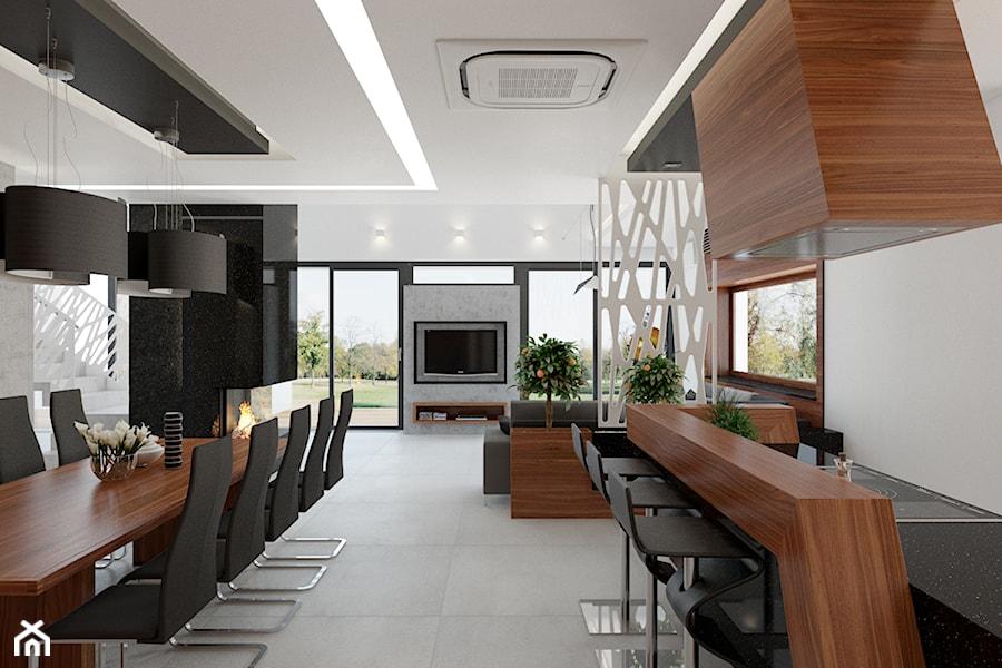 Otwarta kuchnia połączona i salonem i jadalnią  zdjęcie od KJ architekt Kami   -> Otwarta Kuchnia Z Jadalnią I Salonem