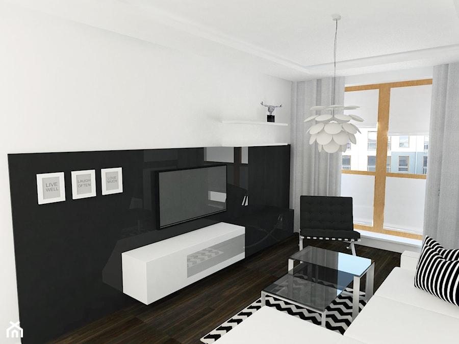 Czarno - biały salon z aneksem kuchennym - zdjęcie od KJ.architekt Kamila Jędrzejewska