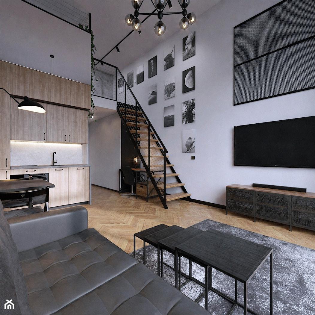 Wrocław Projektowanie wnętrz mieszkanie wysokie loft industrialne jodełka francuska czerń fototapet - zdjęcie od Entropia Design - Homebook