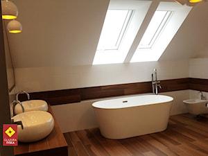 Nowoczesna łazienka w bieli i drewnie