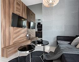 Realizacja Modern Small Apartment - Mały szary biały brązowy salon - zdjęcie od DISENO INTERIORS - Apartamenty PREMIUM