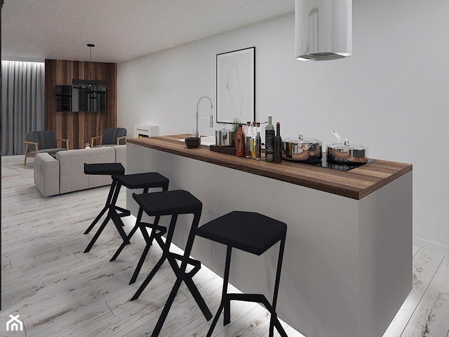Cozy Loft Industrial - Średnia biała kuchnia z wyspą - zdjęcie od DISENO INTERIORS - Apartamenty PREMIUM