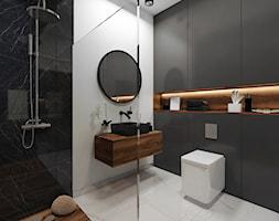 Apartament przy parku- Minimalism Modern - Średnia biała czarna łazienka - zdjęcie od DISENO INTERIORS - Apartamenty PREMIUM