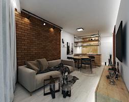 Apartament w stylu industrialnym - Mały biały brązowy salon z kuchnią z jadalnią - zdjęcie od DISENO INTERIORS - Apartamenty PREMIUM