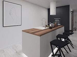 Cozy Loft Industrial - Średnia otwarta biała kuchnia w kształcie litery l w aneksie z wyspą - zdjęcie od DISENO INTERIORS - Apartamenty PREMIUM