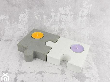 """Aranżacje wnętrz - Domy: Komplet świeczników z betonu """"puzzle dazzle"""" - Rausch Beton. Przeglądaj, dodawaj i zapisuj najlepsze zdjęcia, pomysły i inspiracje designerskie. W bazie mamy już prawie milion fotografii!"""