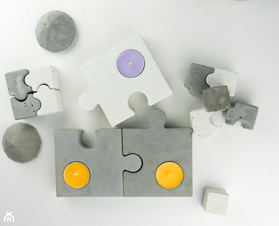 """Komplet świeczników z betonu """"puzzle dazzle"""" - zdjęcie od Rausch Beton"""
