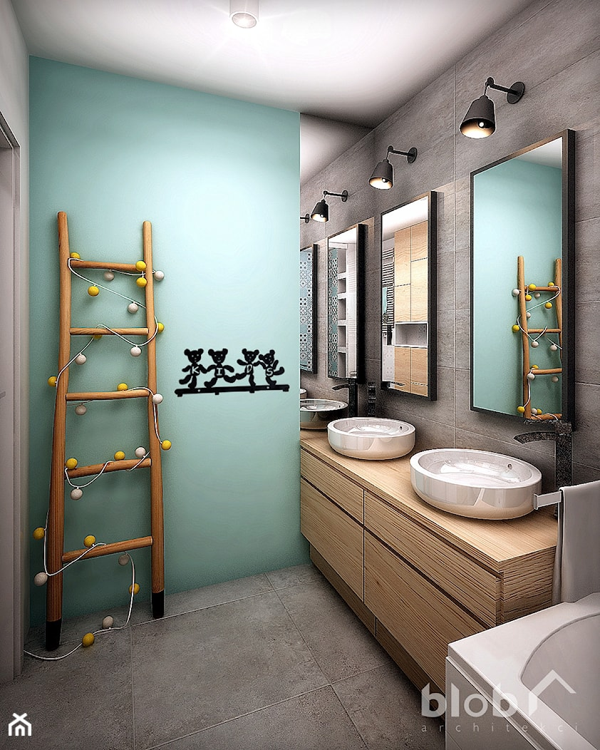 Aranżacja łazienki dla dzieci - zdjęcie od BLOB architekci - Homebook