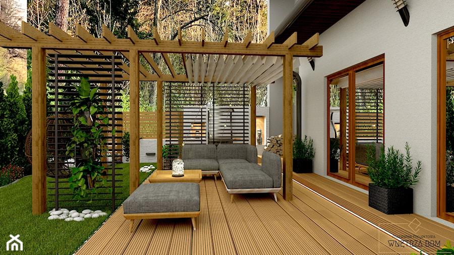 Przydomowe patio - Taras, styl skandynawski - zdjęcie od Pracownia Projektowa WnętrzaBBM