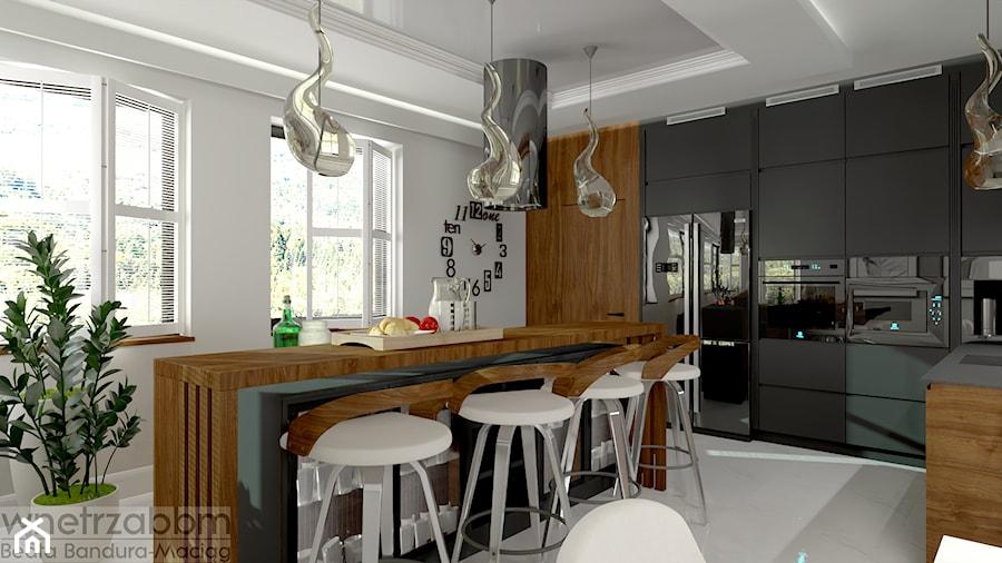 przestronna kuchnia z bufetem - zdjęcie od Pracownia Projektowa WnętrzaBBM