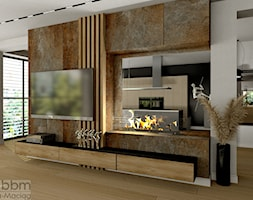 przestronny salon z biokominkiem - zdjęcie od Pracownia Projektowa WnętrzaBBM - Homebook