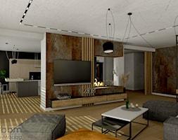 przestronny salon z miejscem do pracy - zdjęcie od Pracownia Projektowa WnętrzaBBM - Homebook
