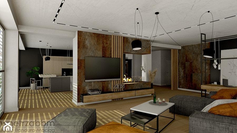 przestronny salon z miejscem do pracy - zdjęcie od Pracownia Projektowa WnętrzaBBM
