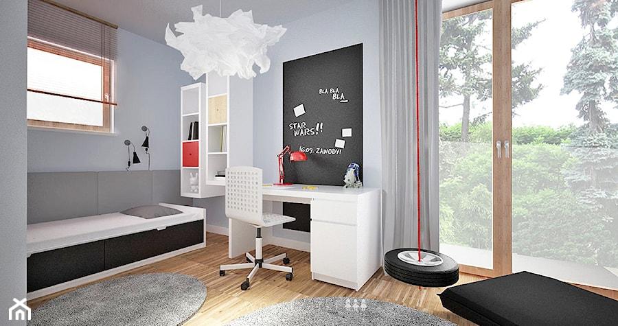 Pokój dla chłopca - Średni szary pokój dziecka dla chłopca dla dziewczynki dla ucznia dla nastolatka - zdjęcie od w n ę t r z a r k i