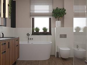 Miączyńska, 150m - Średnia biała różowa łazienka w domu jednorodzinnym z oknem, styl vintage - zdjęcie od DZIURDZIAprojekt