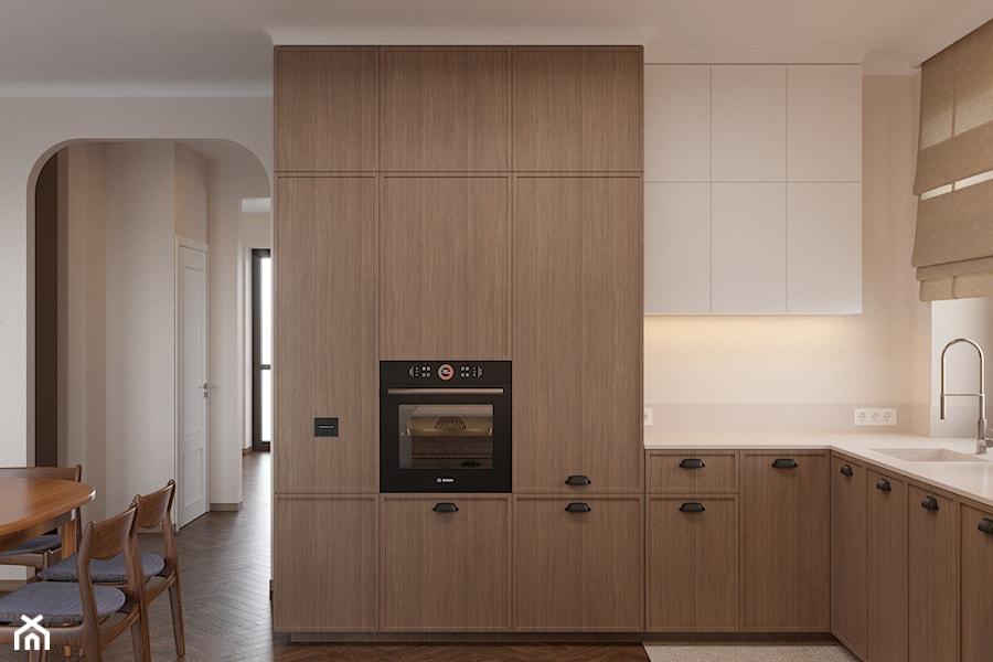 Miączyńska, 150m - Średnia otwarta biała kuchnia w kształcie litery l z oknem, styl vintage - zdjęcie od DZIURDZIAprojekt