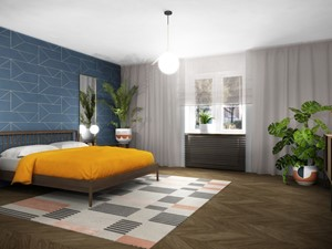 78, Wola - Średnia szara niebieska sypialnia małżeńska, styl vintage - zdjęcie od DZIURDZIAprojekt