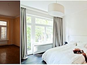 150 m, Śródmieście, Wwa - Średnia biała sypialnia małżeńska z balkonem / tarasem, styl glamour - zdjęcie od DZIURDZIAprojekt