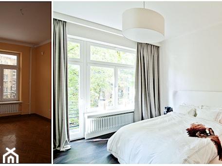 Aranżacje wnętrz - Sypialnia: 150 m, Śródmieście, Wwa - Średnia biała sypialnia małżeńska z balkonem / tarasem, styl glamour - DZIURDZIAprojekt. Przeglądaj, dodawaj i zapisuj najlepsze zdjęcia, pomysły i inspiracje designerskie. W bazie mamy już prawie milion fotografii!