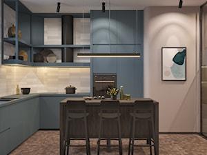 114, wilcza - Średnia zamknięta szara kuchnia w kształcie litery l z wyspą, styl nowoczesny - zdjęcie od DZIURDZIAprojekt