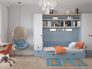 Wólczyńska 72 m, - Duży szary pokój dziecka dla chłopca dla ucznia dla nastolatka, styl skandynawski - zdjęcie od DZIURDZIAprojekt